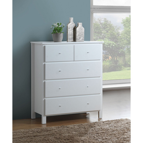 EMPRESS 5 DRAWER HARDWOOD / MDF TALLBOY (2-18-15-4-9-5) 1098(H) x 960(W) - WHITE