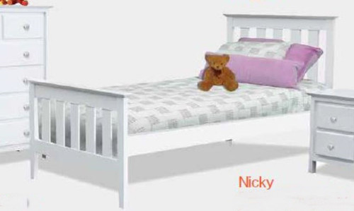 KING SINGLE NICKY BED - WHITE (2028)