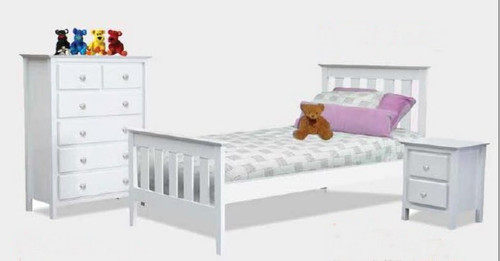 NICKY DOUBLE OR QUEEN 3 PIECE BEDSIDE BEDROOM SUITE - WHITE