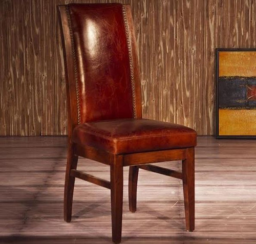 ELCOLANO (2022) FULL LEATHER DINING CHAIR - AS PICTURED