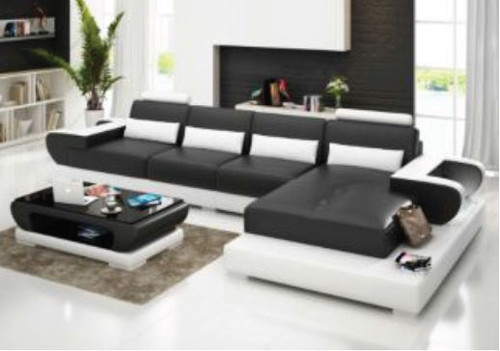 ARAD (G8003C) CHAISE SUITE + COFFEE TABLE - CHOICE OF LEATHER AND ASSORTED COLOURS AVAILABLE