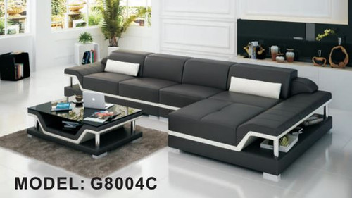 MACIN (G8004C) CHAISE  LOUNGE SUITE + COFFEE TABLE - CHOICE OF LEATHER AND ASSORTED COLOURS AVAILABLE