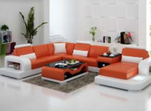 UPTONASI (G8007) CHAISE  LOUNGE SUITE + COFFEE TABLE + SMALL TABLE - CHOICE OF LEATHER AND ASSORTED COLOURS AVAILABLE