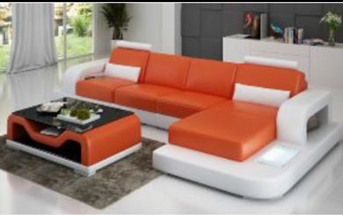 HOWELL (G8007C) CHAISE SUITE + COFFEE TABLE - CHOICE OF LEATHER AND ASSORTED COLOURS AVAILABLE