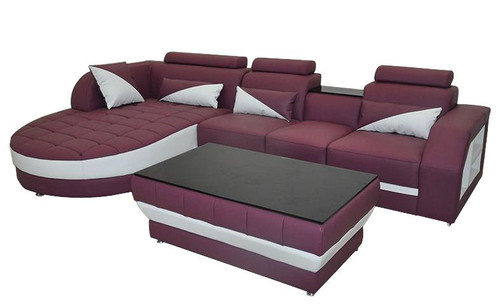 YORO (G8018C) CHAISE LOUNGE + COFFEE TABLE  - CHOICE OF LEATHER AND ASSORTED COLOURS AVAILABLE