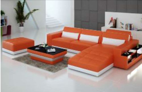 CHANCY (G8019E) CHAISE  LOUNGE + COFFEE TABLE  & OTTOMAN - CHOICE OF LEATHER AND ASSORTED COLOURS AVAILABLE