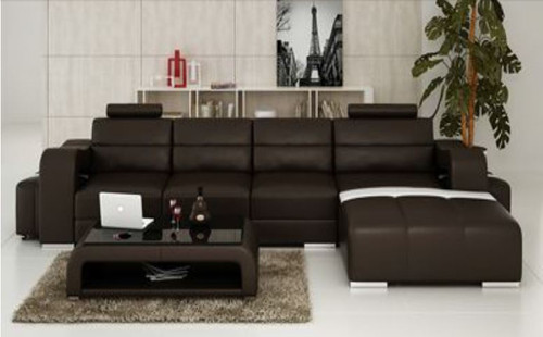 BENSALEM (F3008C) CHAISE  LOUNGE SUITE +  COFFEE TABLE - CHOICE OF LEATHER AND ASSORTED COLOURS AVAILABLE