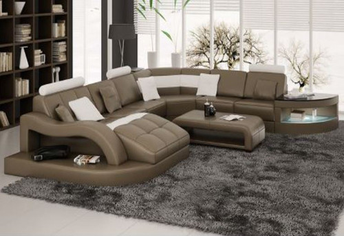 CARENTAN (L6015) CORNER  LOUNGE  SUITE +  COFFEE TABLE - CHOICE OF LEATHER AND ASSORTED COLOURS AVAILABLE