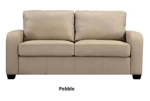 VIVA LEATHER DOUBLE SOFA BED - PEBBLE