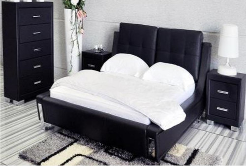 KING TOORAK (WD- 05)3 PIECE BEDSIDE BEDROOM SUITE  - LEATHER/ETTE COMBINATION - BLACK OR WHITE