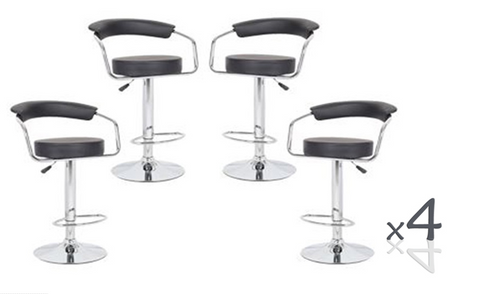 CONIX (BARS-22BK)   4  x  PIECE OF HALF MOON  KITCHEN BAR STOOLS - SEAT: 860 - 1090(H) - BLACK