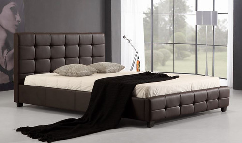 DOUBLE PALERMOR (ING-DBGC-BROWN) LEATHERETTE  TUFTED  BED   -  BROWN