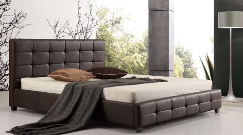 KING PALERMOR  LEATHERETTE  DELUXE BED (ING-KBGC-BROWN/BLACK)  - BROWN OR BLACK