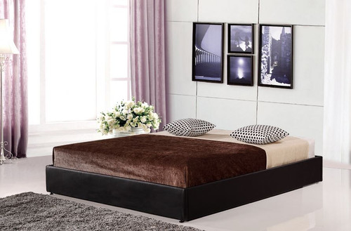 DOUBLE (ING-BE-DOUBLE-BLK)  LEATHERETTE ENSEMBLE BED FRAME - BLACK