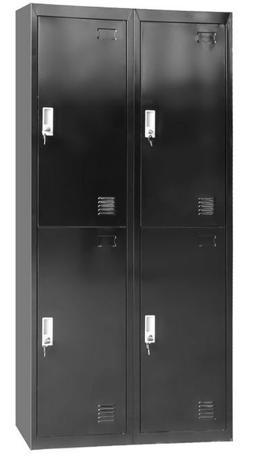 SAMBA (LLIE29) FOUR DOOR SIDE BY SIDE OFFICE - GYM - STORAGE - SHED - LOCKERS 760(W) x 450(D) - BLACK