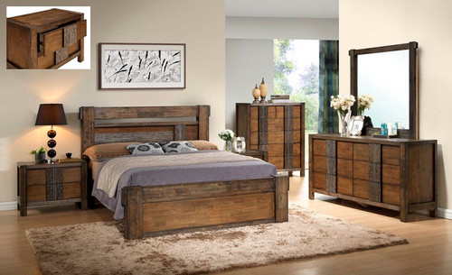 MELROSE KING 5 PIECE DRESSER BEDROOM SUITE (IM-1488) (MODEL 9-18-15-14-2-1-18-11) - CHOCOLATE (DARKER THAN PICTURED)