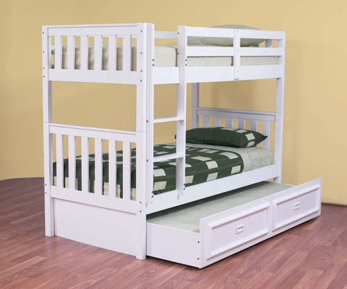 KING SINGLE LINDFIELD (MODEL 10-5-19-20-5-18) BUNK BED WITH MATCHING KING SINGLE TEENAGE TRUNDLE BED - ARCTIC WHITE