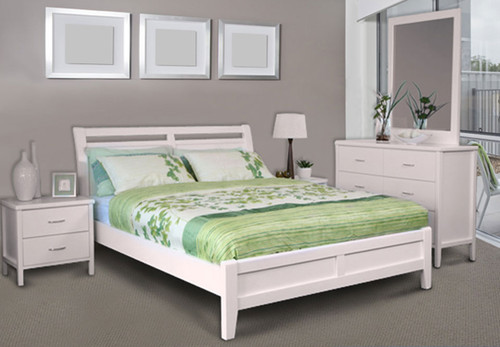 SAVANNAH DB-SHO/QB-SHO (MODEL 19-15-8-15) DOUBLE OR QUEEN 5 PIECE DRESSER BEDROOM SUITE WITH DALBY CASE GOODS - WHITE
