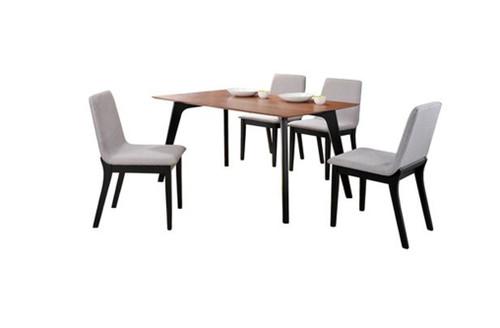 DELUXE 7 PIECE DINING  SET (MODEL- IV3091-IV1105) (KIT#077) - 1500(L) x 900(W) - WALNUT VENEER / GREY