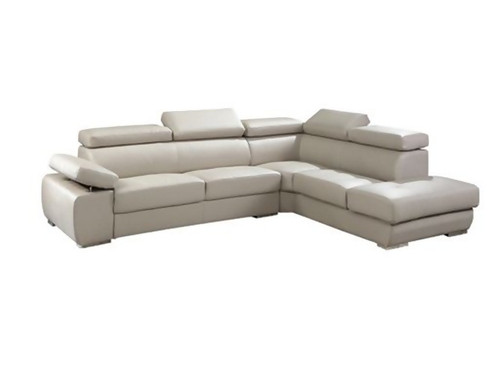 CROSSVERNOR (TLD-397R-BG)  3 SEATER COMBINATION OF GENUINE LEATHER & PVC WITH RIGHT CHAISE - BEIGE
