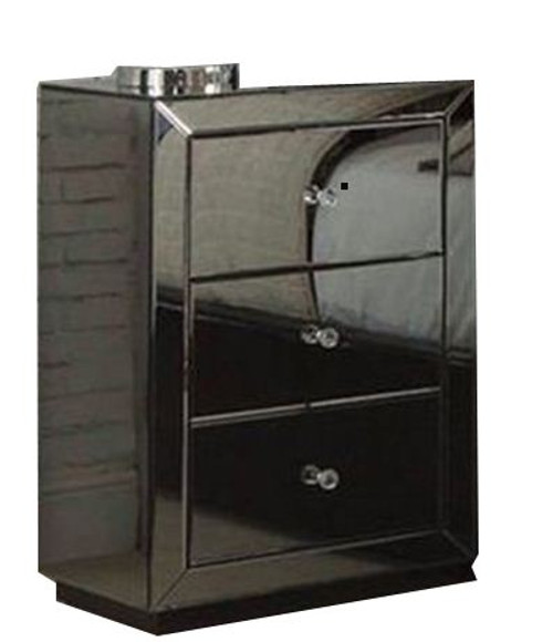 CANNES (BE-829) 3 DRAWER BEDSIDE - SMOKEY MIRROR