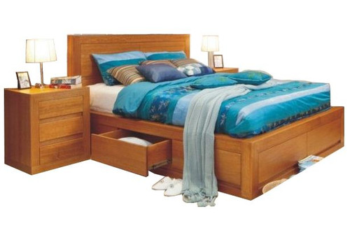 CLAREMONT QUEEN 3 PIECE BEDSIDE  BEDROOM SUITE WITH 4 UNDER BED DRAWERS  - CHOICE OF COLOURS