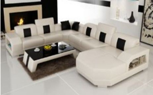 VELEN LEATHER  CHAISE LOUNGE SUITE ( MODEL-R7003) - CHOICE OF LEATHER AND ASSORTED COLOURS AVAILABLE