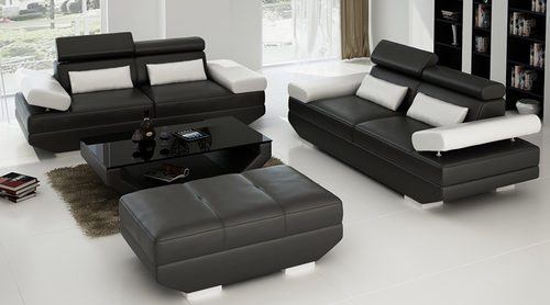 GORICA (K5009E) 3 SEATER + 3 SEATER + 1 FOOT STOOL & COFFEE TABLE    - CHOICE OF LEATHER AND ASSORTED COLOURS AVAILABLE