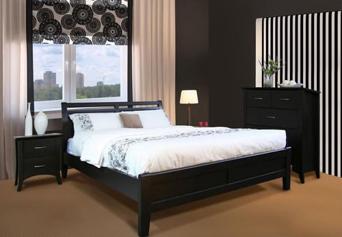 SAVANNAH DB-SHO/QB-SHO (MODEL 19-15-8-15) 3 PIECE BEDSIDE BEDROOM SUITE - DOUBLE OR QUEEN - DARK CHOCOLATE