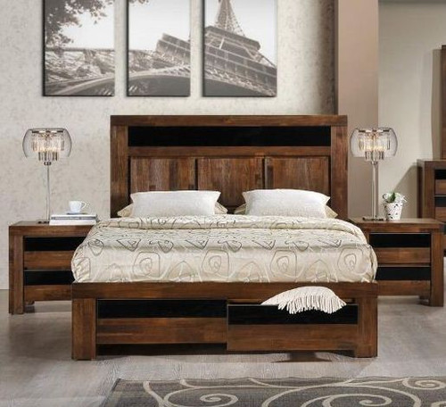 TOLEDO KING  3 PIECE BEDSIDE   BEDROOM SUITE - ANTIQUE COFFEE STAIN