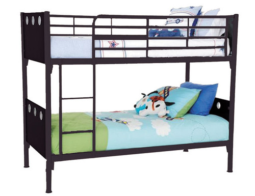SINGLE BUDDY METAL & TIMBER BUNK BED - BLACK WITH BLACK PANEL