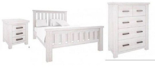DENALI QUEEN 4 PIECE TALLBOY BEDROOM SUITE (VAL-013) (MODEL 1-12-1-19-11-1) - BRUSHED WHITE