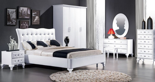 KEVIN (8-1-23-1-9-9) QUEEN 5 PIECE DRESSER  BEDROOM SUITE  - HI GLOSS WHITE