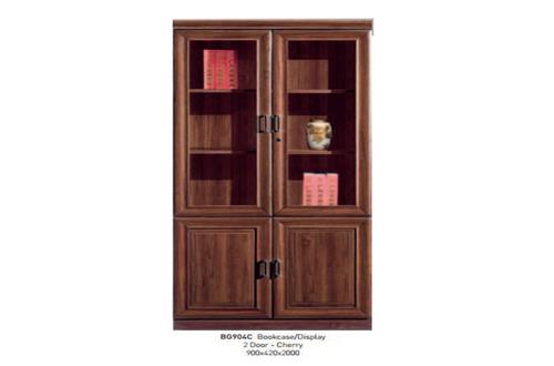 WINDSOR (BG904C) 2 DOOR DISPLAY / BOOKCASE  - 2000(H) X 900(W) - CHERRY
