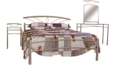 OPAL DOUBLE OR QUEEN  5 PIECE METAL DRESSER BEDROOM SUITE - ASSORTED COLOURS