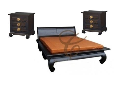SHANGHAI QUEEN  (BS 000 OL QS)  3 PIECE BEDSIDE BEDROOM SUITE  WITH OPIUM LEGS - CHOCOLATE
