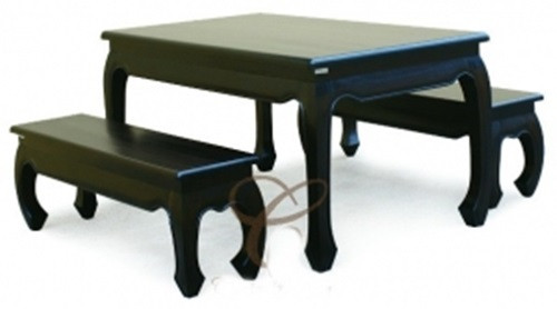 CHINESE ( DT 150 90 OL) DINING  SETTING - 1500(L) x 900(W) - CHOCOLATE
