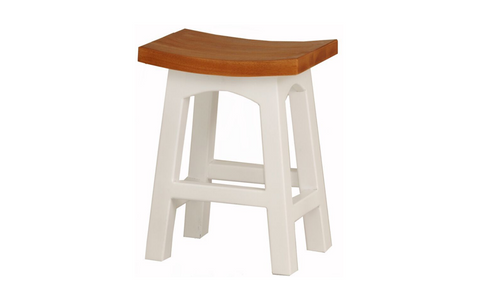 ZIMA  TWO - TONED WOODEN BAR STOOL (BR 048 WD) - SEAT: 480(H) - WHITE & CARAMEL