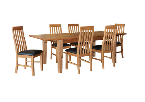 ECCO 7 PIECE  DINING SETTING WITH EXTENDABLE - 1800-2400(L) X 1000(W) -  LIGHT OAK