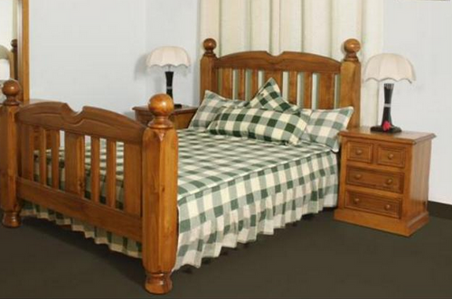 KING 3 PIECE BEDSIDE  BEDROOM SUITE (MODEL - 23-9-14-38-5-19-12-5-18)  - CHESTNUT OR WALNUT