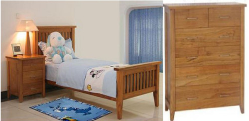 DAKOTA SINGLE OR KING SINGLE 3 PIECE   BEDROOM SUITE  ( MODEL - 4-5-22-15-14-16-15-18-19)  - CHESTNUT OR WALNUT