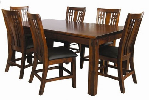 FABULOS  7 PIECE  DINING SETTING - 1800(L) X 1050(W) - (MODEL-16-9-14-14-1-3-12-5 -  HAZELNUT