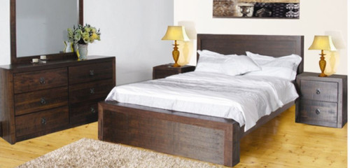 ASIDA QUEEN  4 PIECE  TALLBOY   BEDROOM SUITE WITH  6 DRAWER TALLBOY (MODEL -2-21-3--15-12-9-3)) - RUSTIC