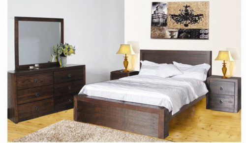 QUEEN  ASIDA  5 PIECE  DRESSER  BEDROOM SUITE  ( MODEL - 2-21-3-15-12-9-35PC) -RUSTIC