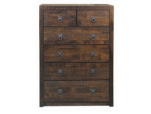 ASIDA  6 DRAWER TALLBOY (MODEL - 2-21-3-3-15-12-9-3) - RUSTIC