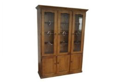 COLONIAL LIBRARY 6 DOOR DISPLAY CABINET  EXCLUDING LEADLIGHT (PATTERN) DOORS - 2100(H) x 1200(W) - ASSORTED COLOURS
