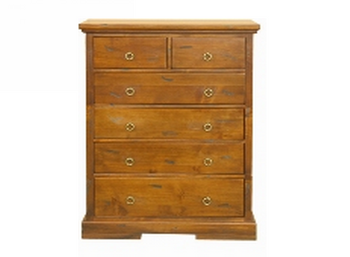 DONSILIA   6  DRAWER TALLBOY ( MODEL- 11-1-11-1-4-21 )  -1200(H)X 900(W)-  RUSTIC