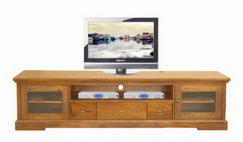 DONSILIA  LOWLINE TV  ENTERTAINMENT UNIT  WITH 2  DOOR & 3  DRAWERS  - ( MODEL- 11-1-11-1-4-21 )  - 2200(W) - RUSTIC