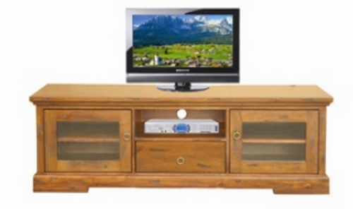 DONSILIA  LOWLINE TV  ENTERTAINMENT UNIT  WITH 2  DOOR & 1 DRAWER - ( MODEL- 11-1-11-1-4-21 )  - 1650(W) - RUSTIC