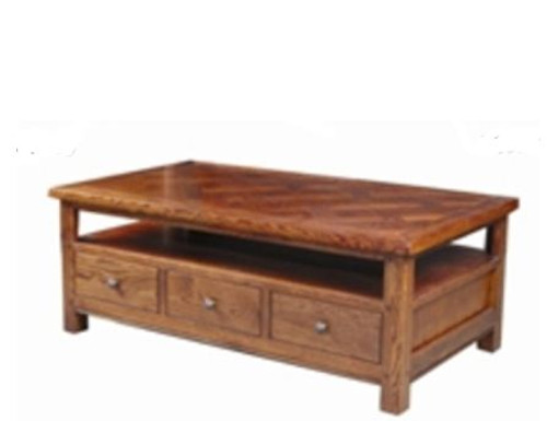 DUOLYN AMERICAN OAK COFFEE TABLE  WITH 3 DRAWER - (MODEL16-1--1-13-15-21-914-20)500(H) X 1350(W) X 750(D) - AS PICTURED